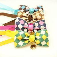 Armi store Handmade Colorful plaid Ribbon Dog  Tie Collar Bow 31002 Puppy Supplies wholesale.