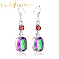 Luckyshine 925 sterling silver jewelry Venus Fashion Charm AAA+ Exotic Mystic Topaz dangle Drop Earrings for women