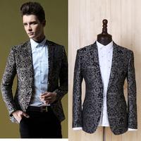 2014 new fashion Spring and autumn Men's SUIT quality jacquard suits men blazer slim fit brand design plus size England style