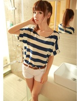 2014 new design striped chiffon tops tees