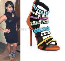 Women coline embellished suede sandals gladiator high heel women sandals 2015(China (Mainland))