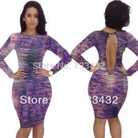 Free Shipping Elegant Purple Long Sleeve Bandage Dress New 2014 Vestidos Bodycon Evening Club Party Sexy Dress S M L XL