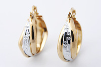 New Arrival  Earring 30mm 18k Yellow&White Solid Gold Filled/Plated  Hoop Earrings High Quality Jewelry For Women Gift E307