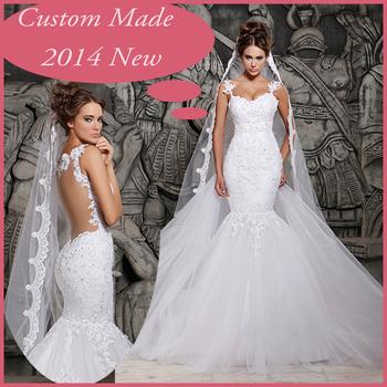 2014 дизайнеры белое кружево и видеть сквозь русалка свадебные платья со съемной поезд свадебные платья тюль MH-101