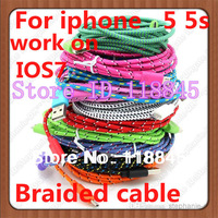300pcs/lot 1m 3ft Nylon Fabric Braided Cable For iphone 5 5s ipad 3 4 USB Data Sync  cable & Charger Cords Work on ios7.1