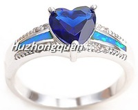 High temperament type sapphire 925 sterling silver rings for women opal ring Love Lord stone ring Christmas festival