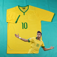 Player Version & Original Fonts # 10 NEYMAR JR Brazilian Team Shirt 2014 Best Thai Quality camisa From China Wholesale By DHL