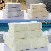3pcs/set promotion Luxury satin embroidered brand bamboo fiber beach bath hand towel set