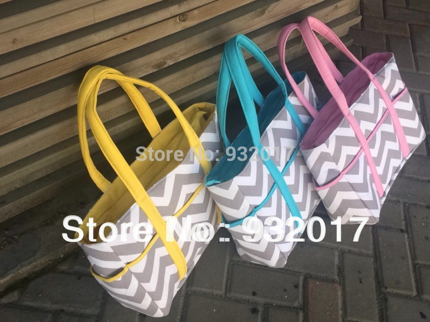 2014 new chevron diaper bags Chevron Diaper Bag Tote Nappy Bag Extra Large Gray and Aqua Grey,gray and pink,gray and blue(China (Mainland))