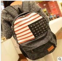 Fashion  rivet american flag backpack bag preppy style canvas student backpack