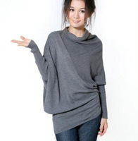 Autumn Winter Casual Fashion Women Clothing Loose Big Size Bat Long Sleeve Turtleneck Pullover Oversized Sweater Crochet Blouse