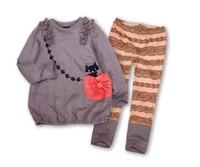 Free shipping!2014 Children's Sets Girls Lovely Kitty Long Sleeves T-shirt Striped Pants 2pcs Girls Suit Kids Spring Autumn Set