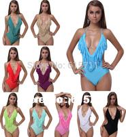 Hot Selling  Sexy Monokini Swimwear Bikini  For Women V Neck Bathing Suits Fringe Tassel Swimsuit 10 Colors S M L