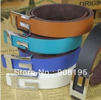 Free Shipping Fashion Charm Multicolor Silver Smooth Buckle Leisure pu Leather Belt