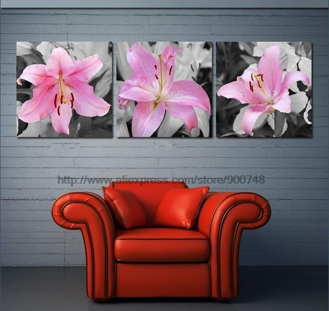 Flores rosa Combined Sala Pintura Pintura decorativa Sem Oil painéis de acrílico decoração da parede da lona abstrata Bed Roo(China (Mainland))