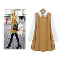 2014 new design High quality Peter Pan Collar sleeveless dress