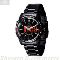 Cool Black Mens LED Dual Analog Digital Day Date Quartz Waterproof Sport Watch WH-903-B