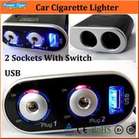 Car Electronic 2014 New 2-Way Auto Car Cigarette Lighter Splitter Socket LED USB 12v/24v Car Charger For Ipod Phone GPS Dvr