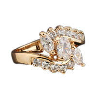 Womens Fashion Beauty Size 7 8 Elegant Gorgeous Cute Cubic Flower Pattern Jewelry Zircon Decoration Gold Plated Ring R1-J06330