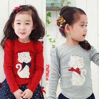 Kitten very hot drilling girls long-sleeved T-shirt children long-sleeved T blood