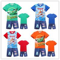 Summer Cartoon Clothes Planes Kids Clothes Sets Children Hoodies + Children Pants sports suit Baby Boys Costumes Kids Clothes