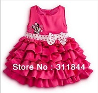 Fashion 2014 Girl Clothing Retail Minnie Mouse Kids Girls' Dresses Princess Cupcake Baby Birthday Party Clothing Children's Wear