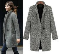 Women's Winter Warm White Black Lapel Long Wool Blended Coats Trench Slim Elegant Outwear Jackets Outwear Pluse Size S-XL 654032