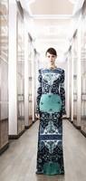 Top Quality Europe and USA Catwalk 2014 Fashion Elegant Vintage Print Long Sleeve Dress Knitted Elastic Long Design SIlk Dress
