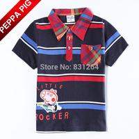 Nova Kids Boy Peppa Pig 100% Cotton Short Sleeve Striped Style Fashion Turn-down Collar Jersey Shirt Children Shirt Kids Clothes