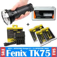 2015 New Supernova Sale Fenix TK75 Set 2900LM Waterproofed Cave Searching LED Big Torch + NiteCore Charger + 4Pcs NiteCore 18650