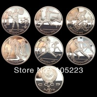 Free shipping Barcelona Olympic Rare NR silver plated coins RUSSIA 6 X 1 RUBLE 1992 PROOF COIN SET 60pcs/lot
