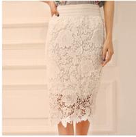 2015 Korean  Pencil Skirt Cutout Water-Soluble Lace Skirt Milk  Silk Medium-Long Spring And Autumn