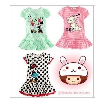 Retail Baby Girls Dresses Summer Wear 2014 New Hot Marie Clothing For 1-5yrs Kids Cute Cartoon Minnie Dress Pink Blue Black(China (Mainland))