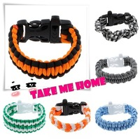New 2014 fashion designer Promotion Cheap Braided & bangles bracelets Handmade Sporty Paracord Bracelet With Whistle For Rescue