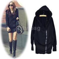 Autumn Korean Women's Fashion Zip Hoodie Warm Long Hooded Sweatshirt Jacket Coat Outwear New Black
