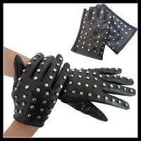 2014 New Hot Women Rivet Leather Gloves Winter Black Fashion Punk Half Finger Gloves Ladies Fingerless Gloves