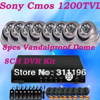 Metal Dome IR Camera 8CH DVR Kit 8 Channels Digital Video Recorder Sony CMOS 1200TVL night vision Indoor Surveillance system