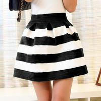 2014 Spring Autumn Women's Knitted Black White Stripe Puff High Waist Skirt Female Girl Bust Expansion Bottom Short Skirt