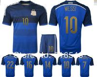 Argentina 2014 Brazil World Cup Football Uniform camiseta Argentina Away Soccer Jersey&short navy blue gradient blue