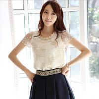 2014 Sale Regular New Summer Women Loose T Shirts Chiffon Sleeves Lace Lady Tops Blusas Femininas Camisas De Renda Femininos