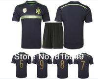 Free shipping spain 2014 world cup soccer jerseys INIESTA RAMOS XAVI football uniform  spain away navy blue soccer jersey