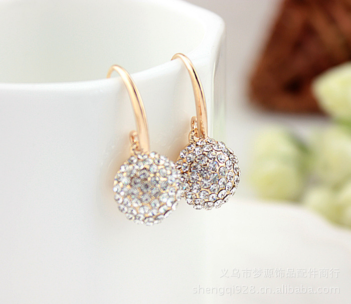 High Quality Fully-Jewelled AAA Oden Drill 18k Rose Gold Earring 2014 New Arrial Hot Women Jewelry Fashion Drop Earrings(China (Mainland))