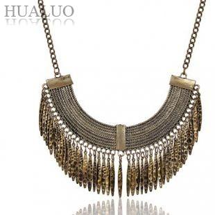 2014 New Arrival European Copper Moon Shape Tassel Retro Jewelry Gift For Women Necklace N1438