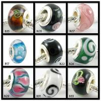 Under 1 dollar,  fit for baigi european bracelets, multi-choice lots sets flower lampwork murano glass beads