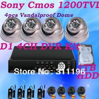 Built-in 1TB HDD 4CH H.264 Network DVR CCTV System Sony 138+FH8520 CMOS 1200TVL Megapixel Analog Camera DVR Kit