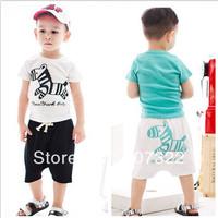 Summer children clothing sets cotton short sleeve t shirts & pants hobbyhorse boy girl sports suit white blue 5sets/lot 625040