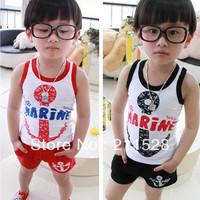 Hot sale children boy girl clothing sets cotton vest & shorts anchor letters design 2pcs sports suits black red 5sets/lot 625039