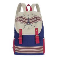 Exo washed canvas women backpack school bag Eiffel Tower printing backpack 40*30cm