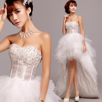 Cii's 2014 latest long and short wedding dress Korean Bra straps lace princess bride Qi