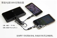 Freeshipping 20000Mah Power bank extra battery for iPhone iPad Samsung HTC backup charger with 4adaptor converter